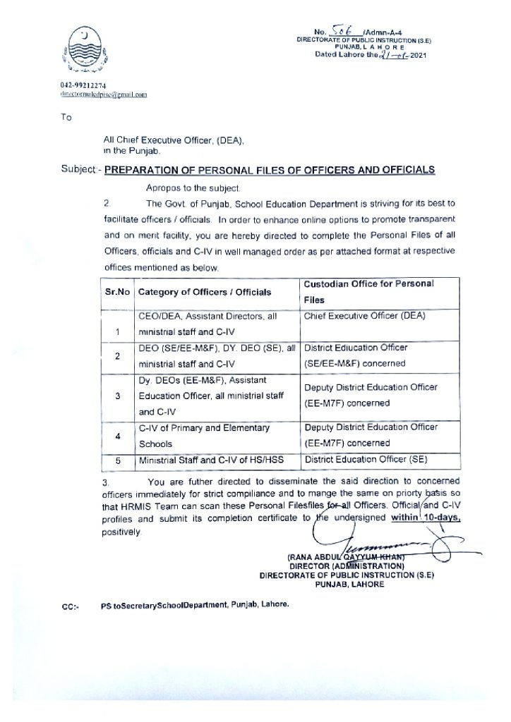 Preparation of Personal Files of Officers and Officials Notification 2021