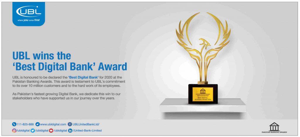 UBL Wins Best Digital Bank Award 2020-21