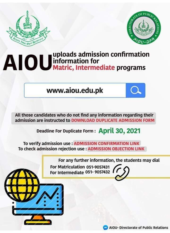 AIOU Admission Confirmation Record