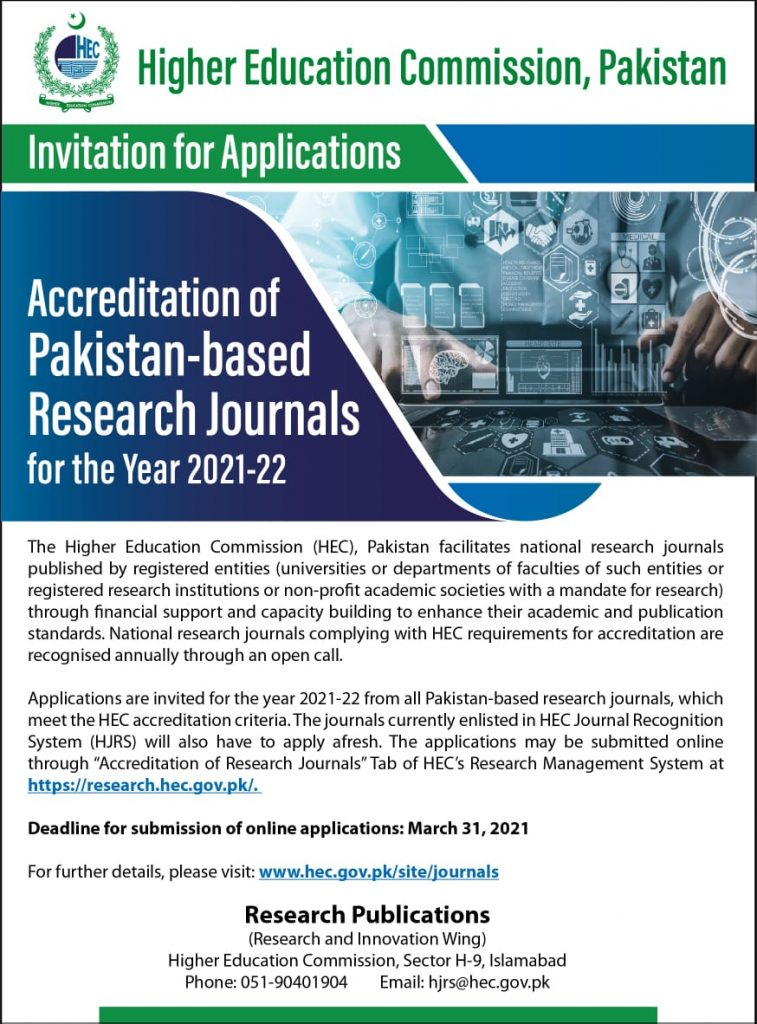 HEC Accreditation of Pakistan-Based Research Journals 2021-22