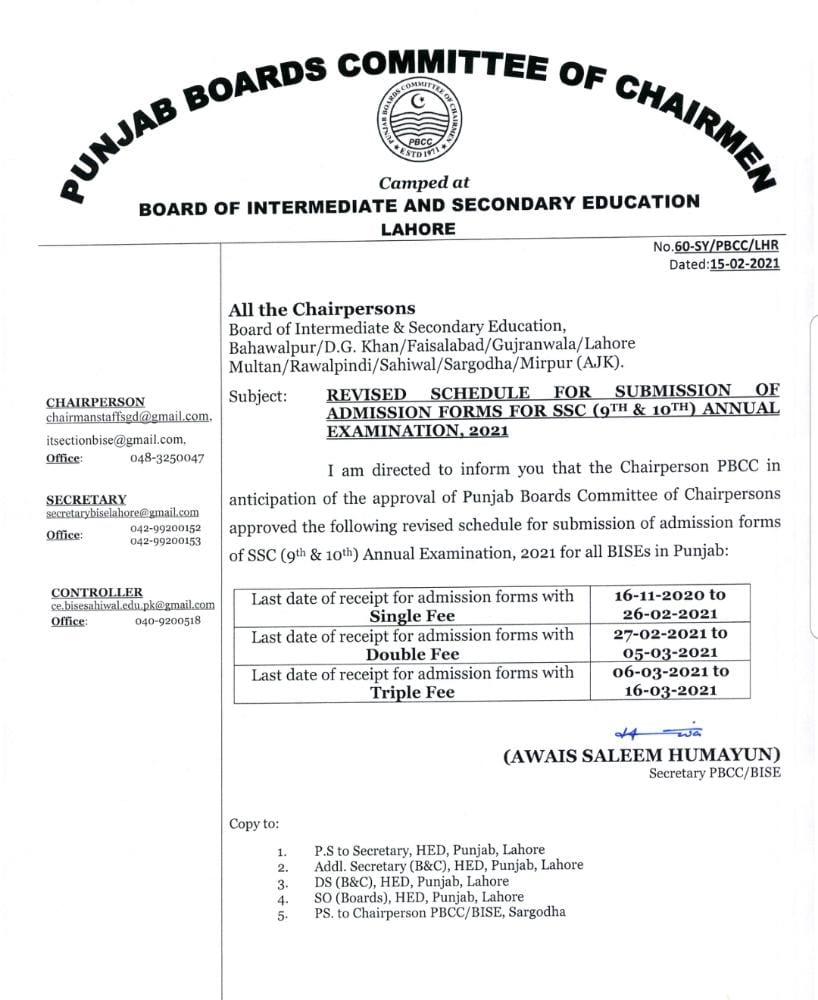 Matric Admission Fee 2021 Lahore Board