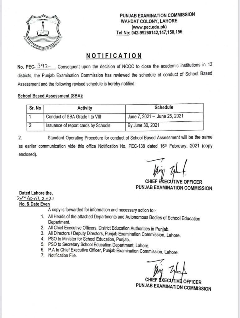 PEC Conduct School Based Assessment 2021