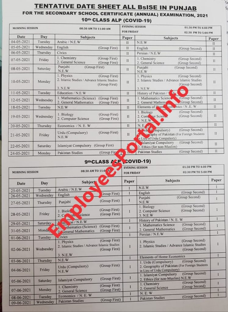 Tentative Date Sheet of Matric Exams 2021 BISE Punjab