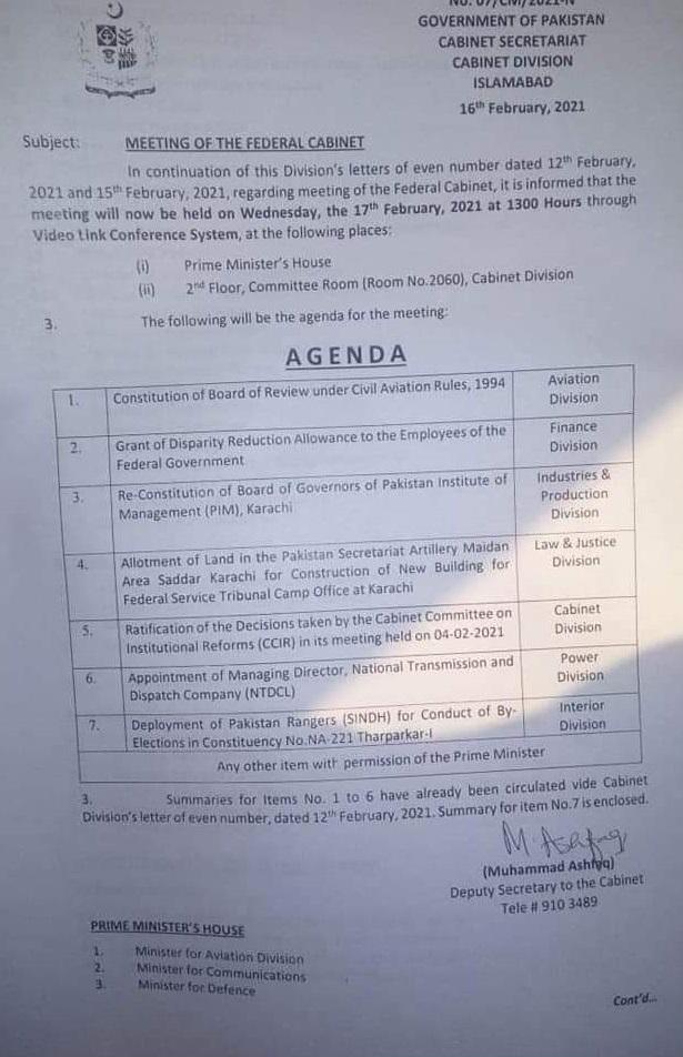 Federal Cabinet Meeting Agenda of 25% Increase in Salary 2021