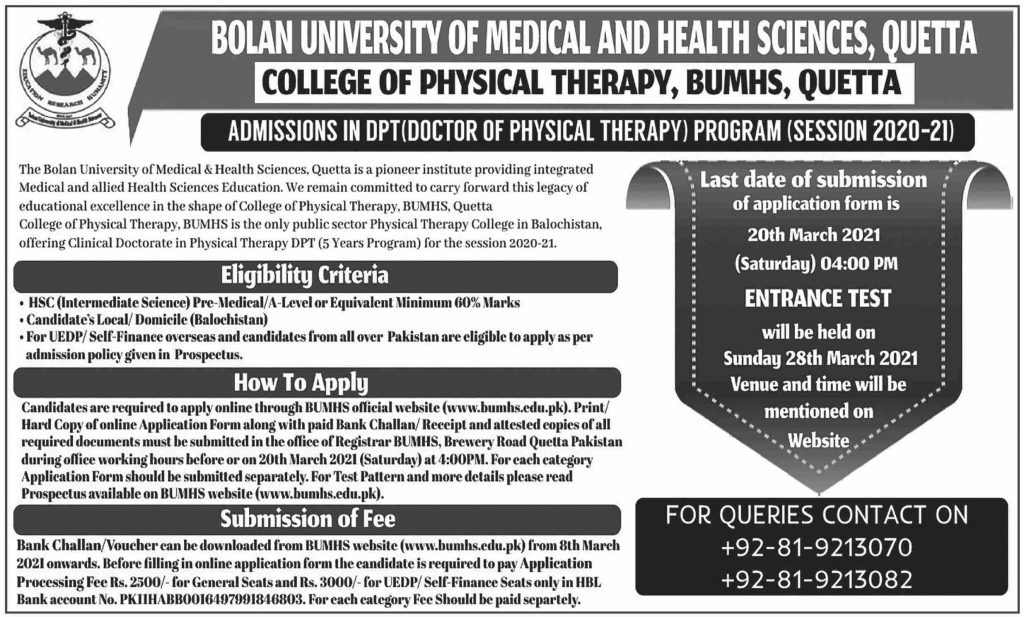BUMHS Admissions in Doctor of Physical Therapy 2021