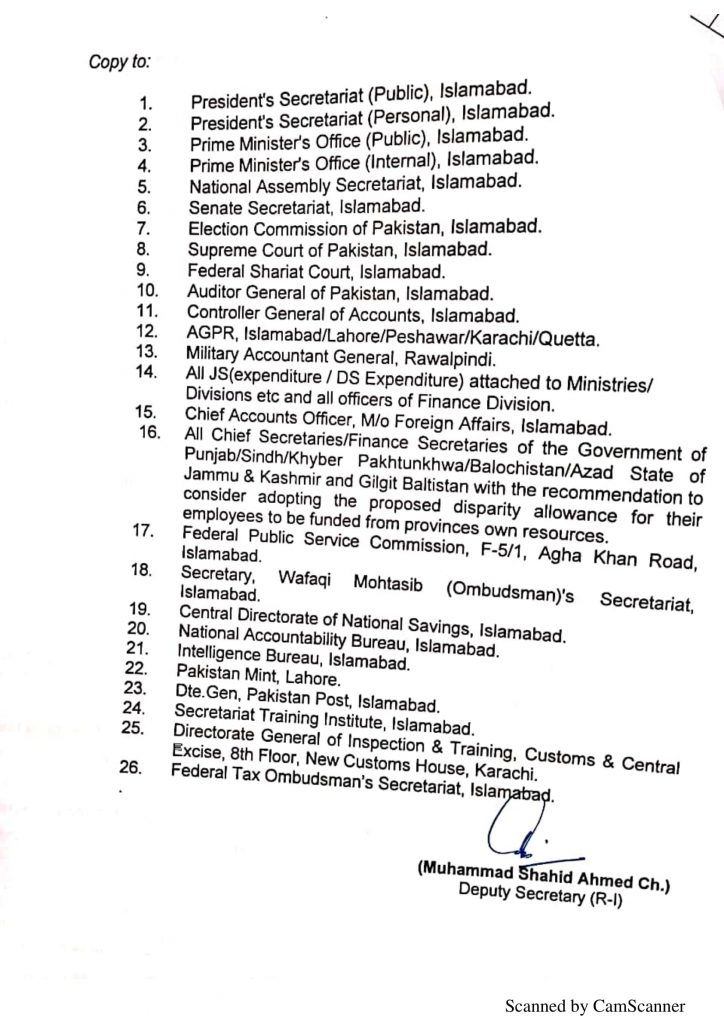 List of Ministries/Divisions/Departments Eligible For 25% Allowance 2021