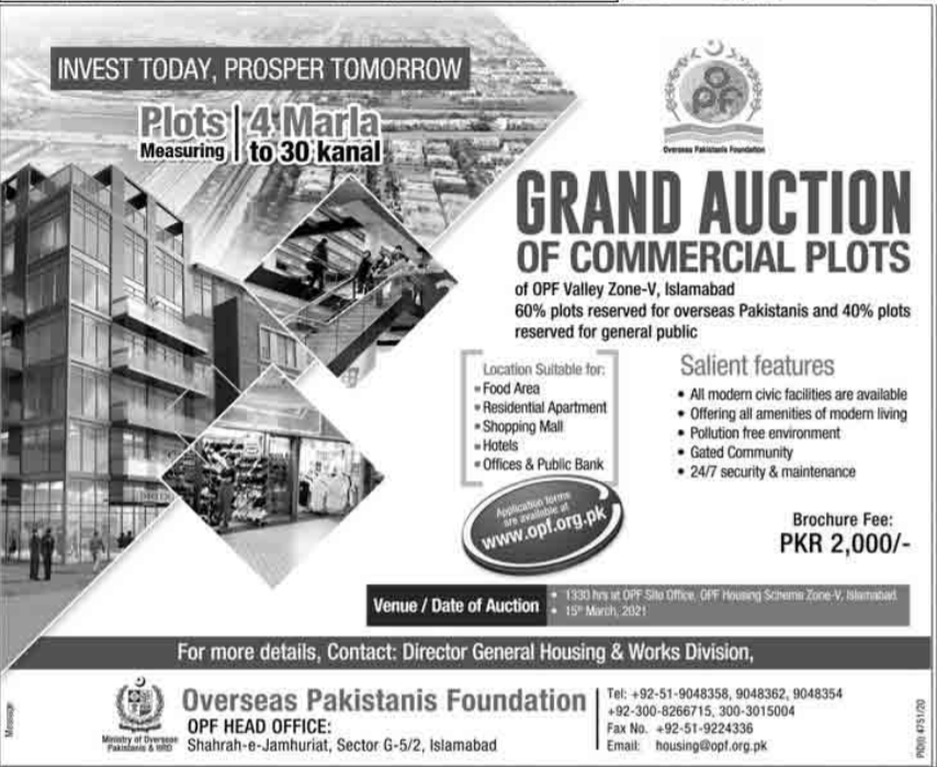 Grand Auction of Commercial Plots For Sale in Islamabad 2021