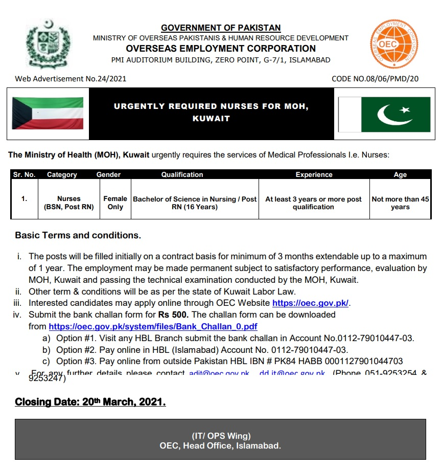 Kuwait Jobs For Nurses 2021 Ministry of Health (MOH)