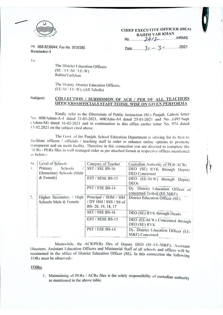 Notification of Collection of ACRPER of Teachers OfficersOfficials Tehsil Wise 2021