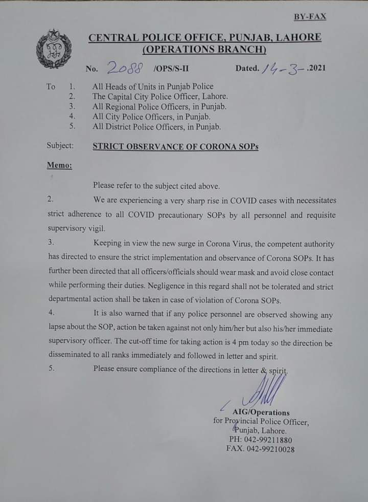 Punjab Police Notification of Strict Observance of Corona SOPs 2021