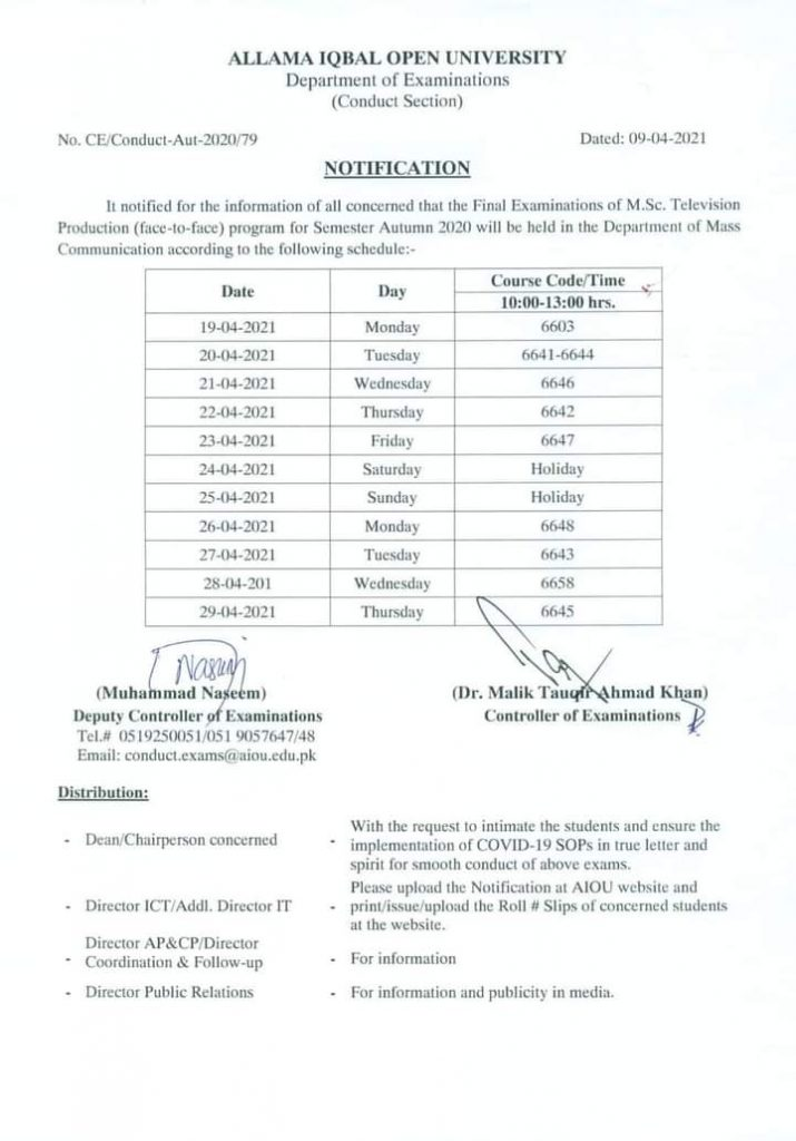 AIOU Final Exams Schedule of MSc Television Production 2021
