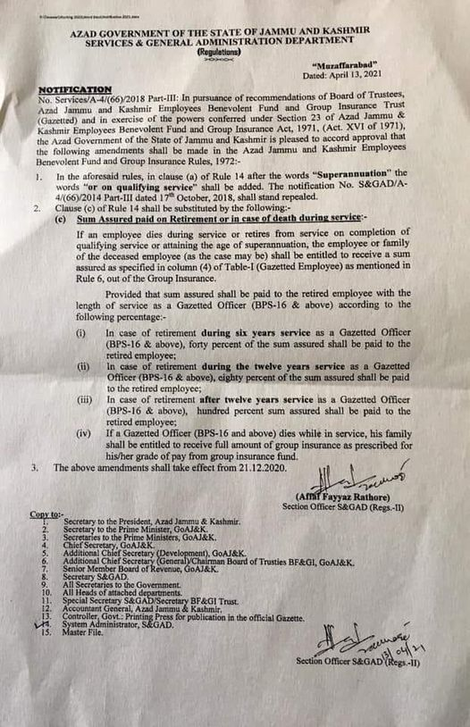 Amendment in Employees Benevolent Fund & Group Insurance Act 1972 AJK