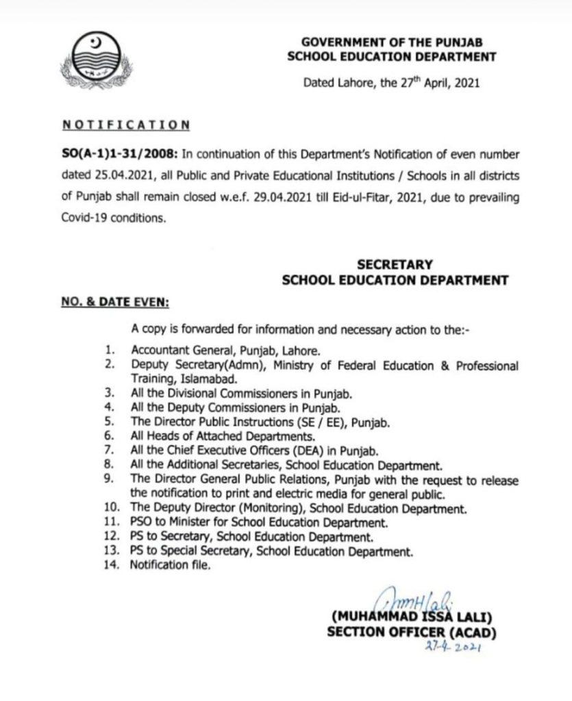 Closure of All Schools in Punjab Till Eid-ul-Fitr 2021 Notification