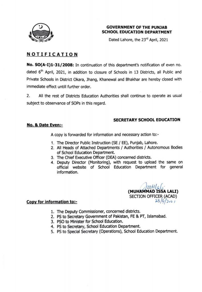 Closure of Schools in 13 Districts of Punjab 2021
