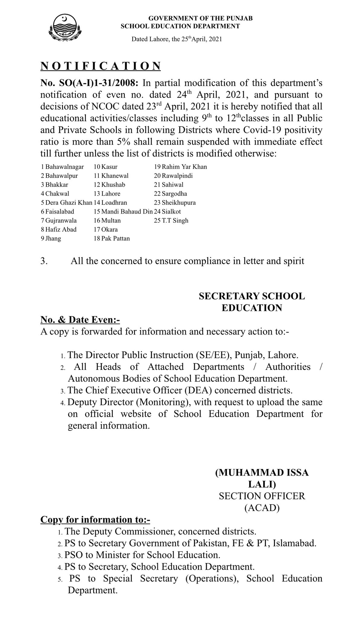 Closure of Schools in 25 Districts of Punjab Notification April-May 2021