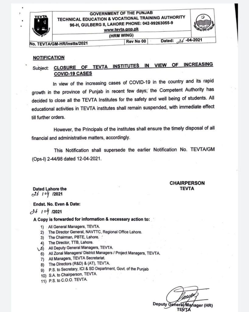 Closure of TEVTA Institutes of Increasing Covid-19 Cases April, 2021