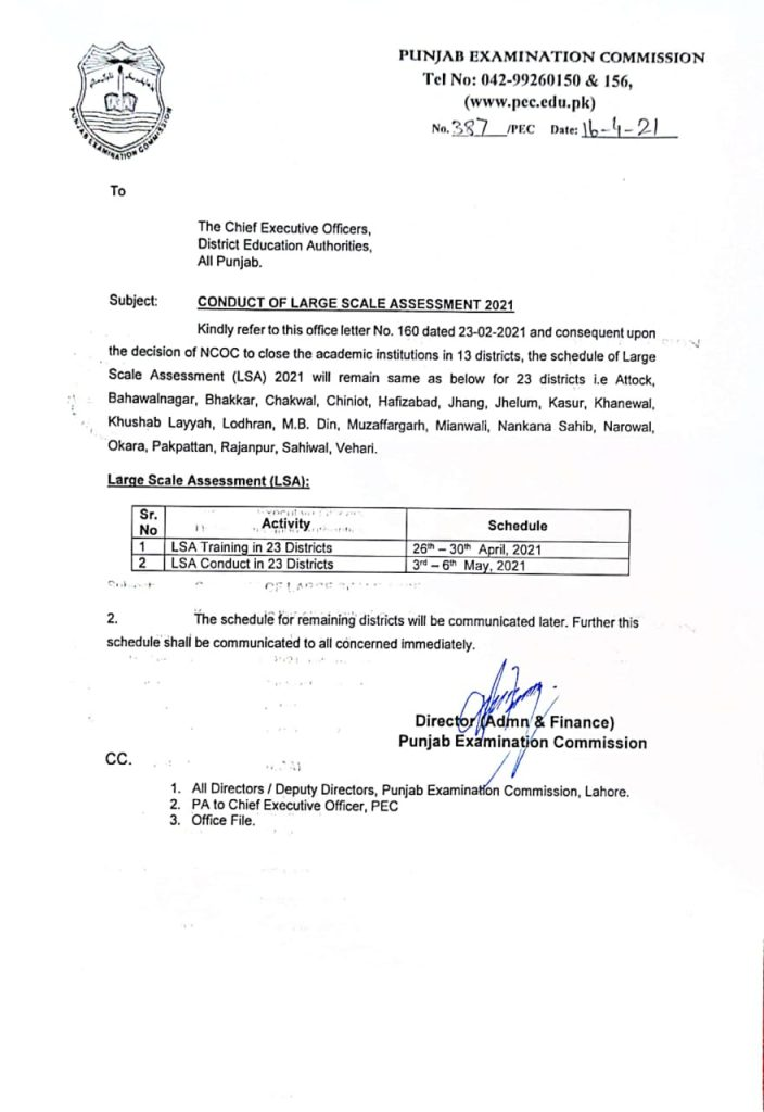 Conduct of Large Scale Assessment 2021 PEC Notification