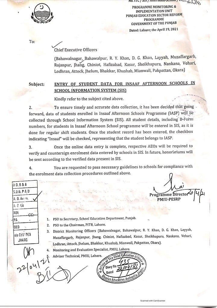 Entry of Student Data For Insaaf Afternoon Schools in SIS Punjab 2021