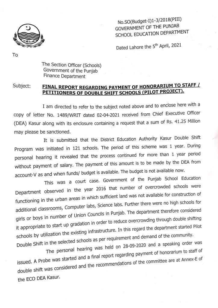 Final Report Regarding Payment of Honorarium To Staff 2021