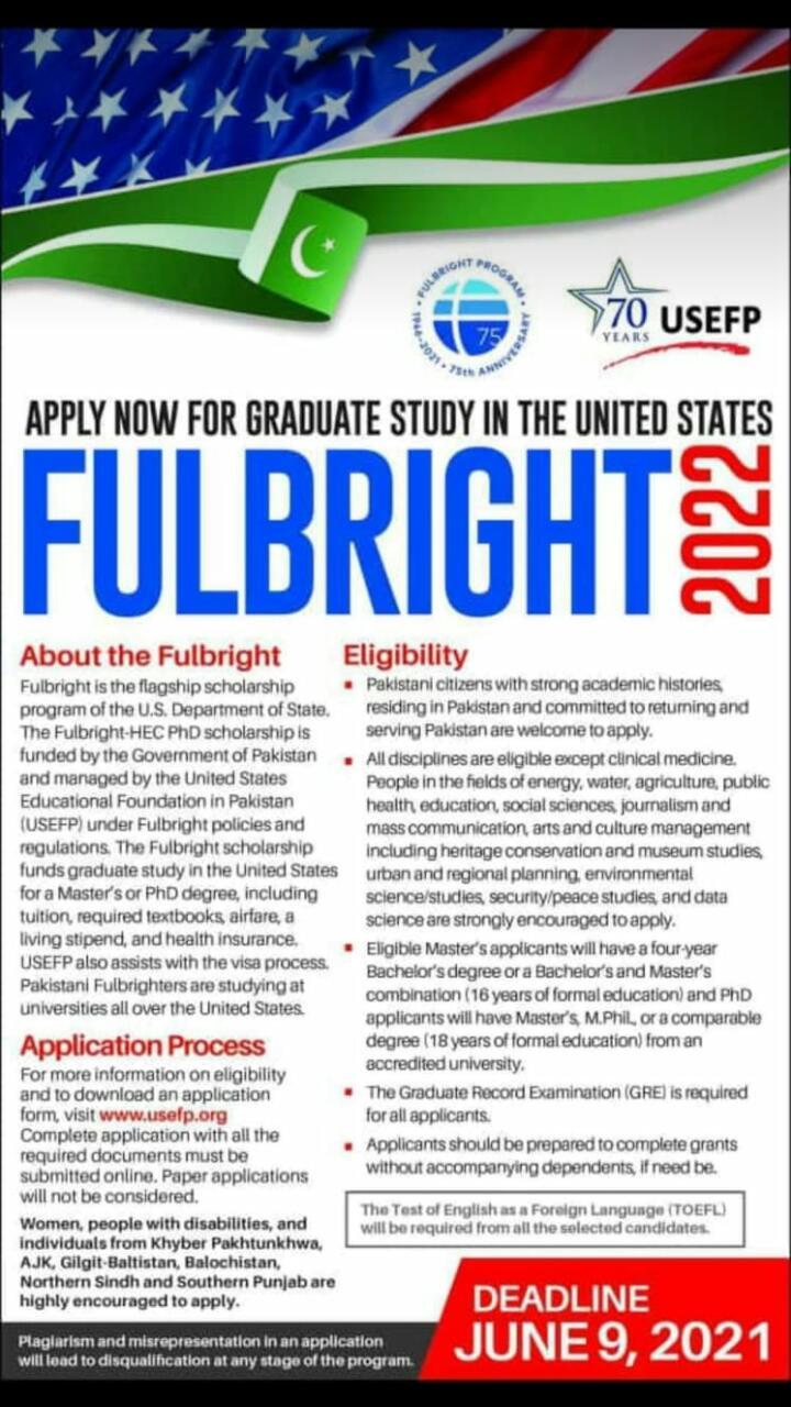 Fulbright Scholarship 2021-22 Pakistan