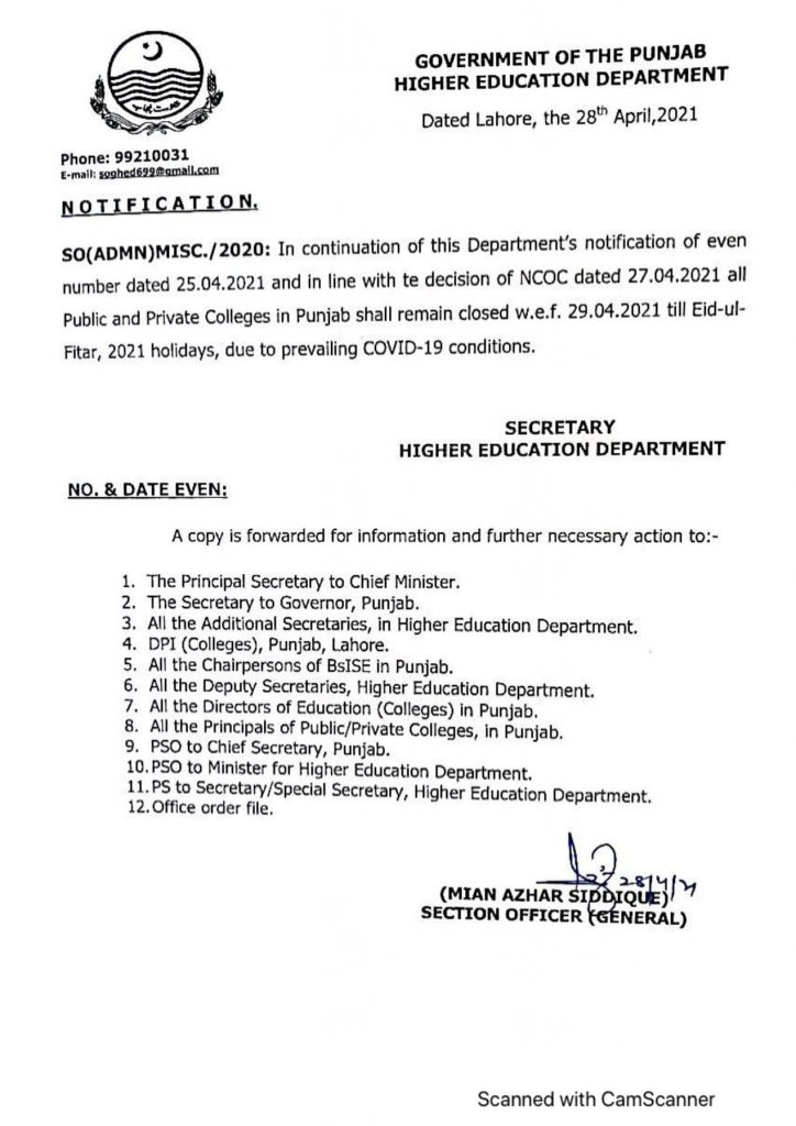 HED Notification of Closure of Educational Institutions in Punjab 2021