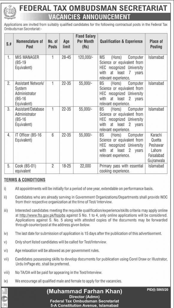 Jobs in Federal Tax Ombudsman Secretariat 2021 Latest