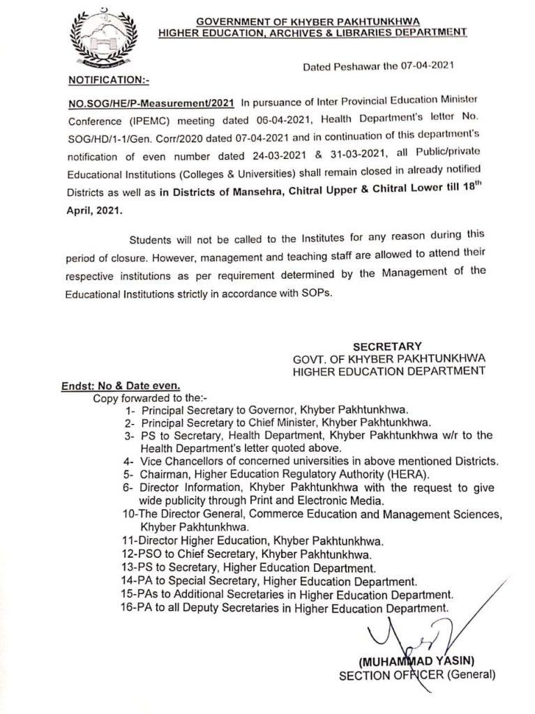 KPK Notification of Closure of Educational Institutions Till 18 April 2021