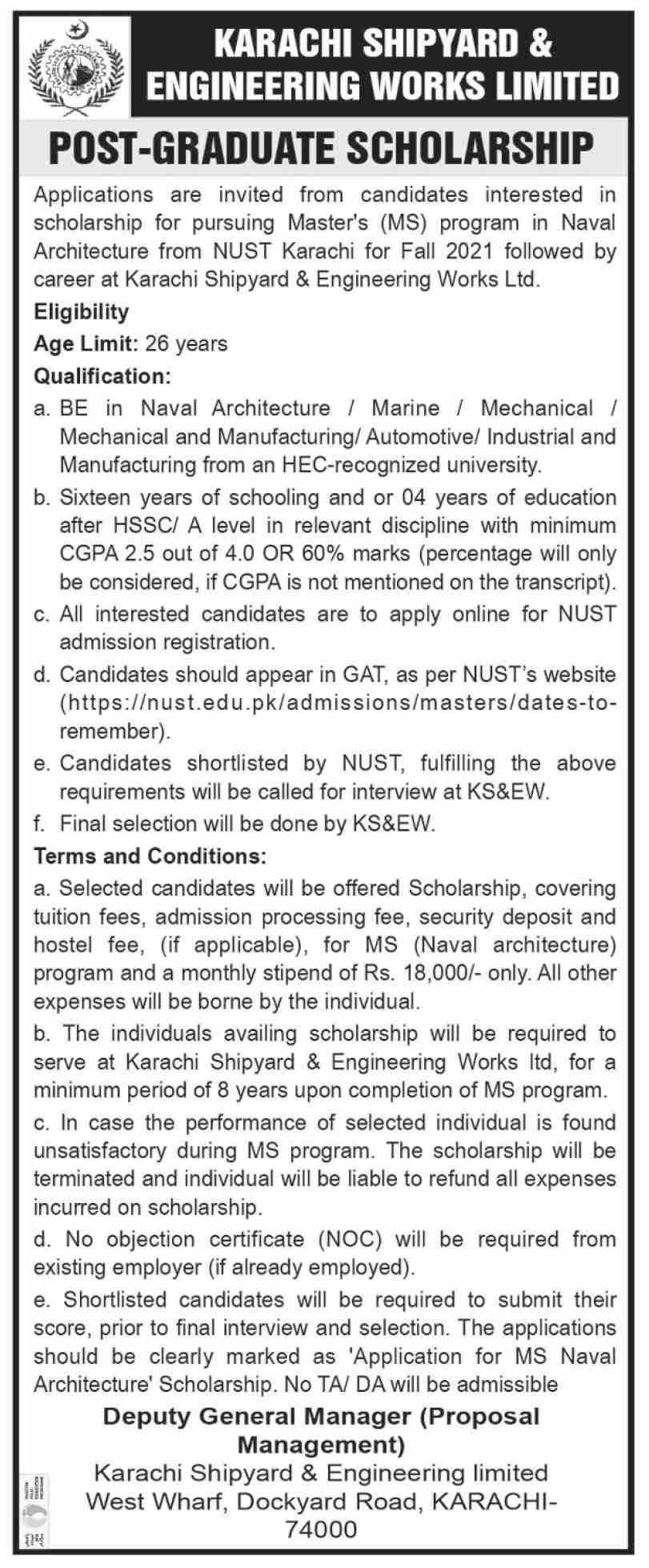 Karachi Shipyard Post Graduate Scholarship 2021