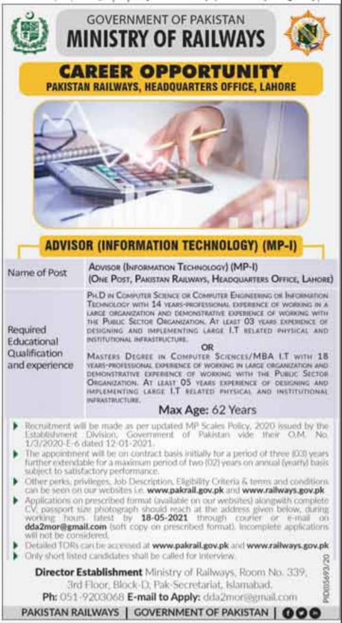 Ministry of Railway Jobs April 2021 Online Apply