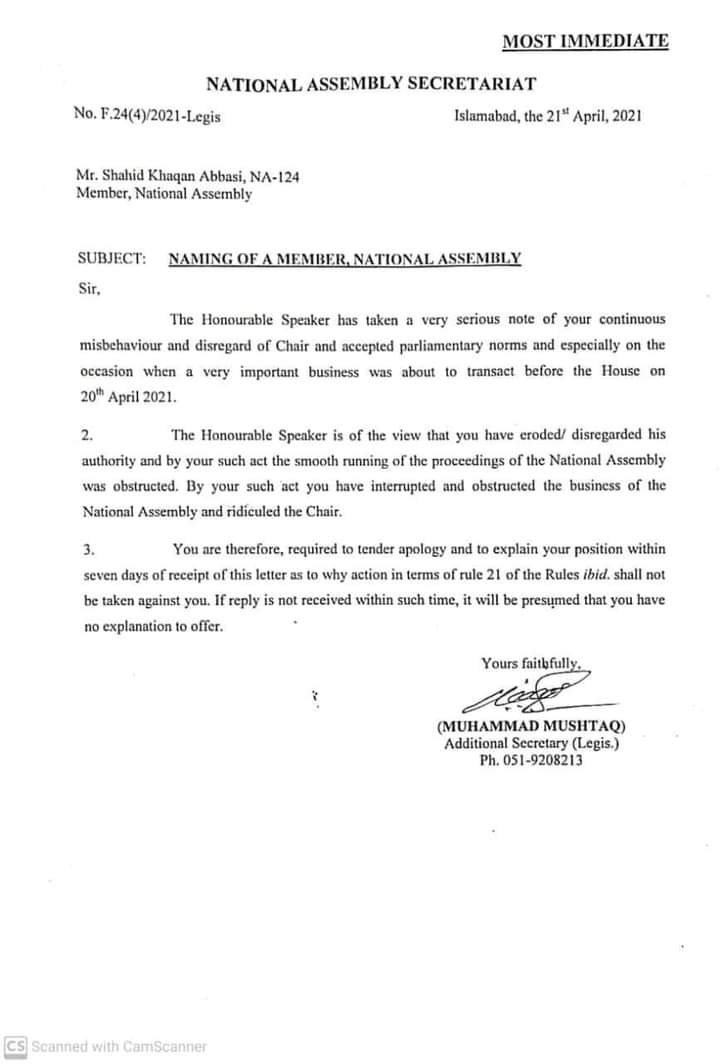 National Assembly Notification of Asks Apology From Shahid Khaqan Abbasi on Misbehave