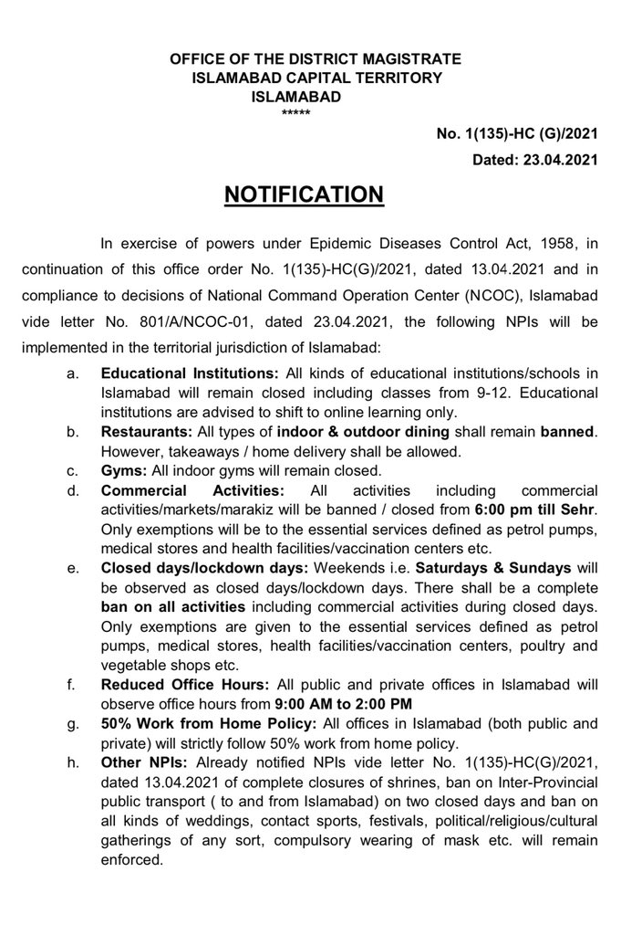 New Corona Restrictions in Islamabad April 2021