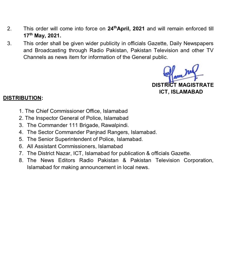 New Covid Restrictions in Islamabad 2021