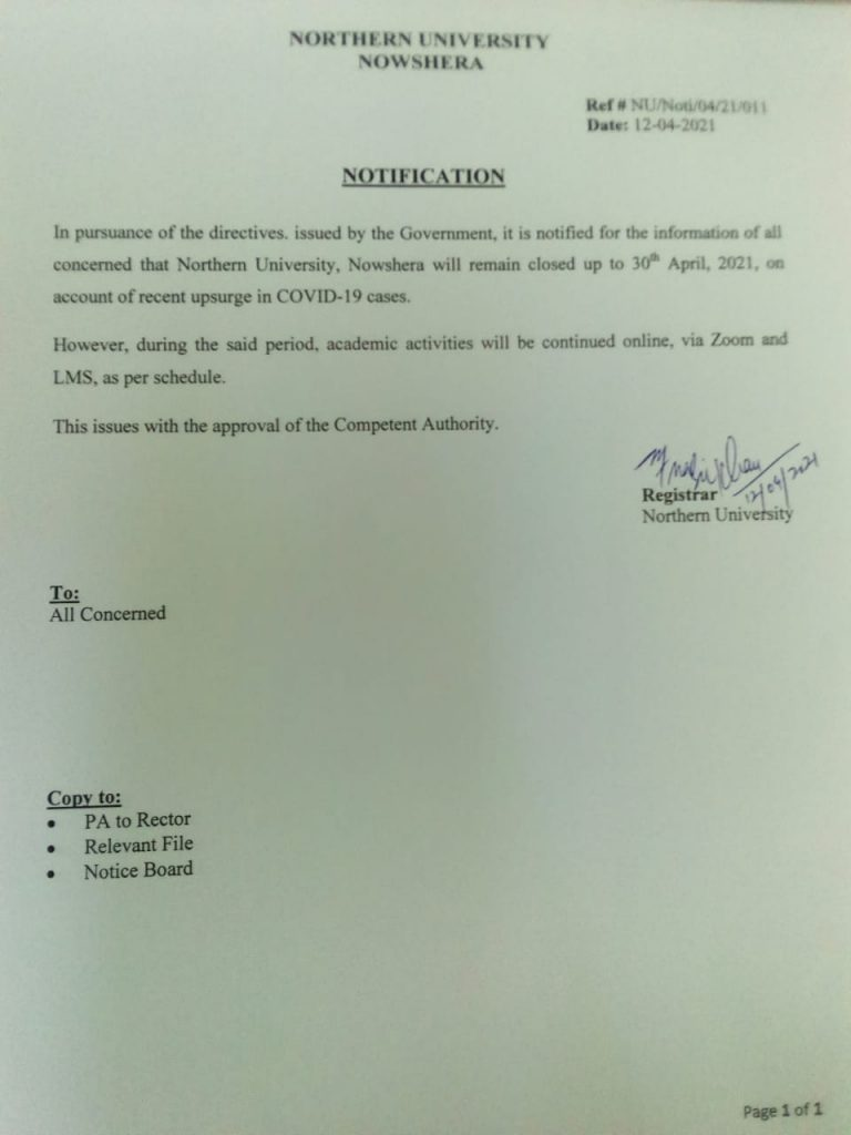 Northern University Nowshera Notification of Closure Till 30 April 202