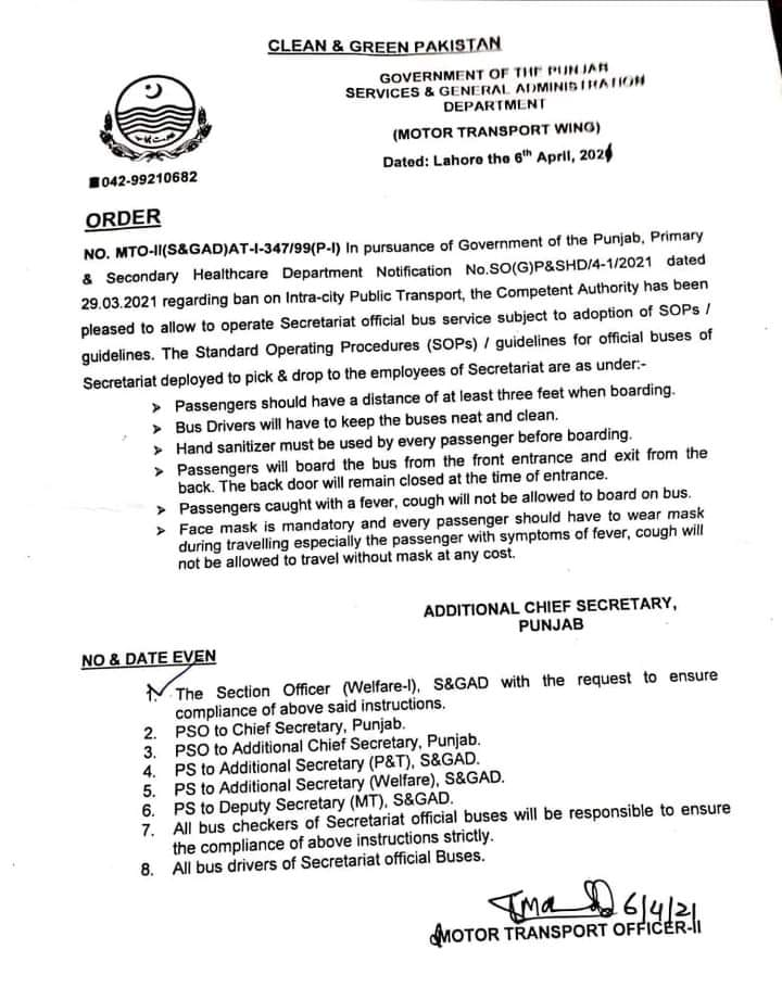 Notification of Ban on Intra-City Public Transport April 2021