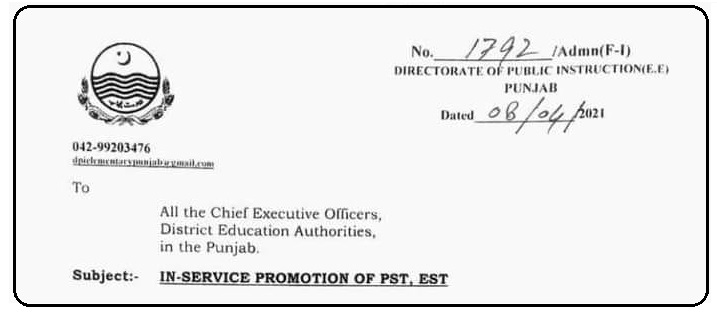 Notification of In-Service Promotion of PSTEST Teachers 2021