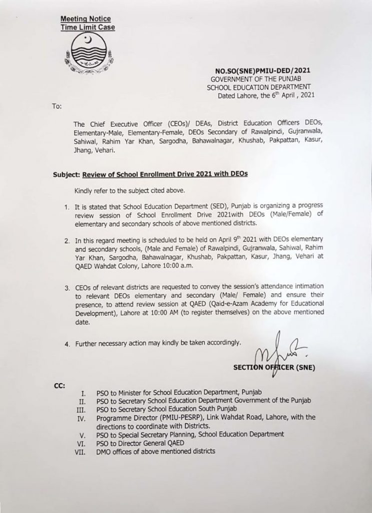 Notification of Review of School Enrollment Drive 2021 with DEOs