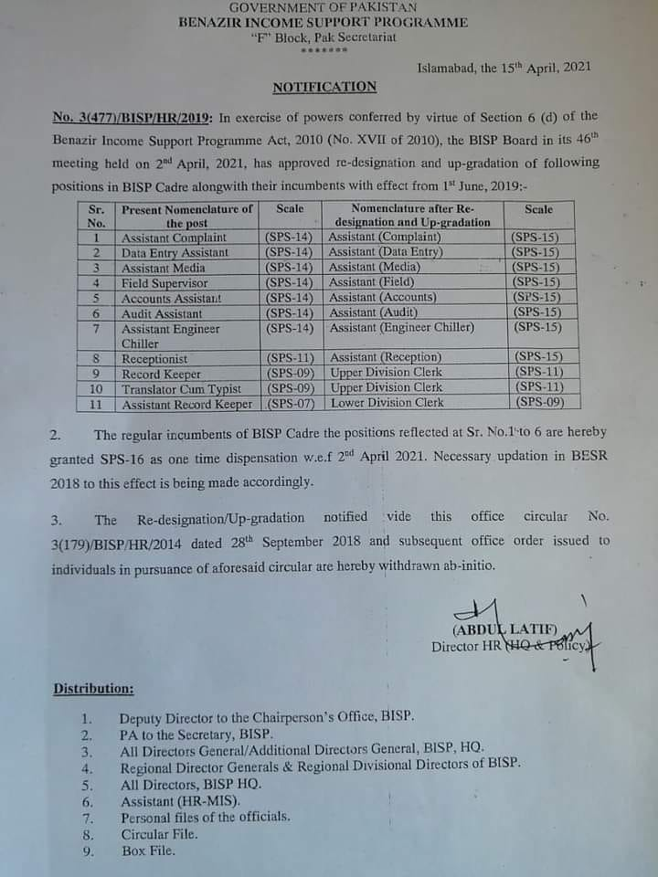 Notification of Upgradation of BISP Employees 2021