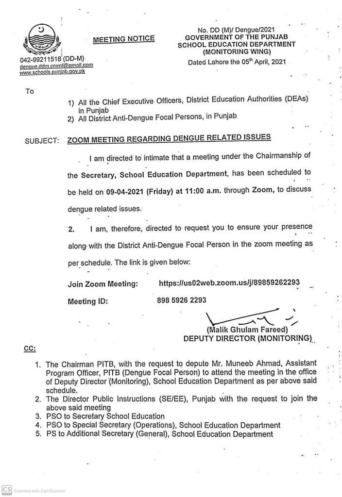 Notification of Zoom Meeting Regarding Dengue Related Issues 2021