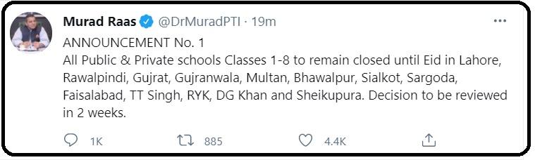 Pakistan Schools Suspends Class-1 to Class-8 Till Eid-ul-Fitr 2021