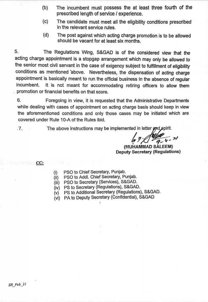 Promotion on Acting Charge Under Punjab Civil Servants Rules