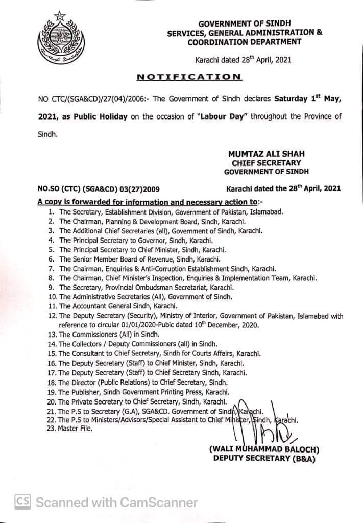 Public Holiday on 1st May Labour Day 2021 Sindh