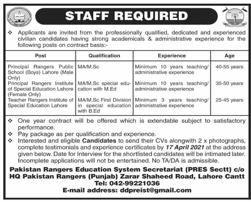 Punjab Rangers Female Teachers Jobs 2021
