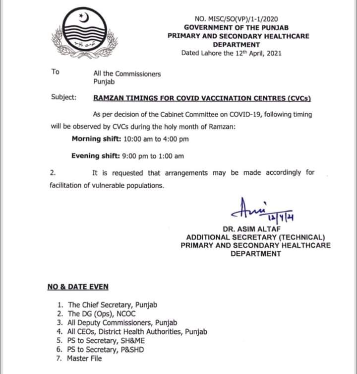Ramadan Timings For Covid Vaccination Centres (CVCs) 2021
