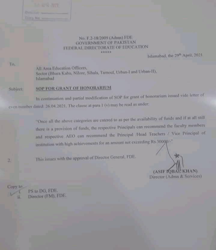 SOP Guidelines For Grant of Honorarium To Federal Teachers 2021