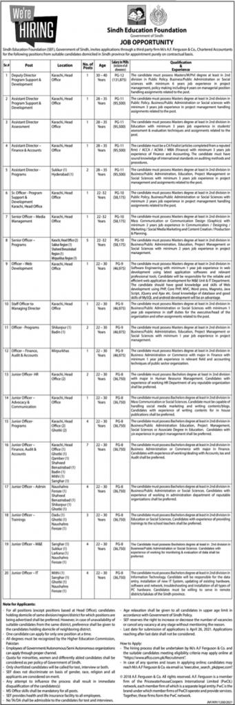 Sindh Education Foundation Jobs April 2021 Advertisement