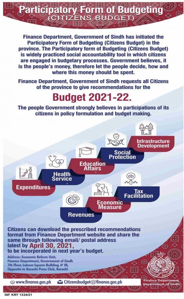 Sindh Govt Asks Citizens Recommendations For Budget 2021-22