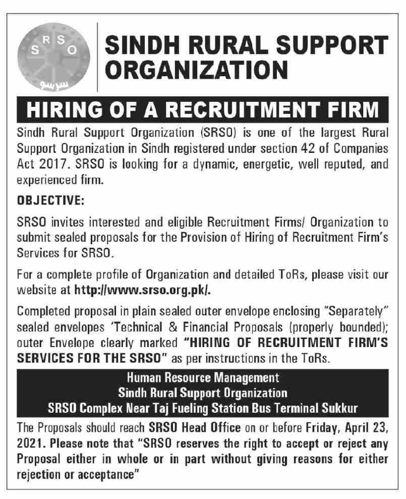 Sindh Rural Support Organization Hiring of Recruitment Firm 2021
