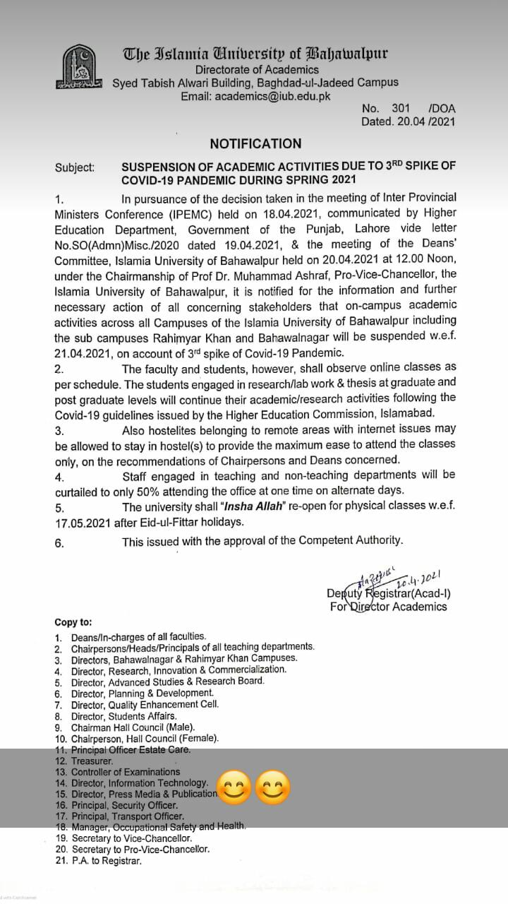 Suspension of Academic Activities Due To Covid-19 During Spring 2021