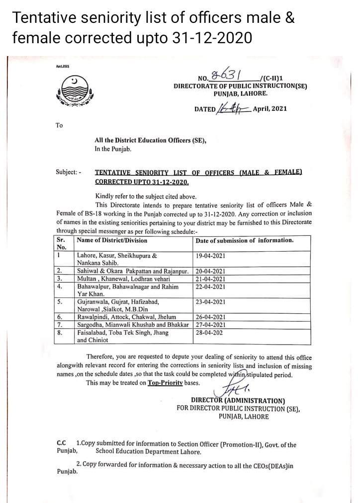 Tentative Seniority List of Officers Correction 2021 DPISE
