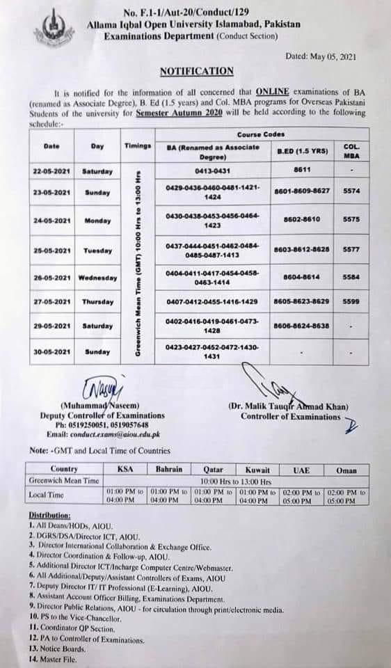 AIOU Online Examination Schedule 2021